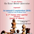Le contrat de ville de Saint-Pierre et La Tour Saint-Pierroise organisent Le samedi 3 septembre 2016 à 8h30au Case de Basse-Terre le 1er tournoi d'échecs inter-quartierspar équipe (jeunes et séniors). […]